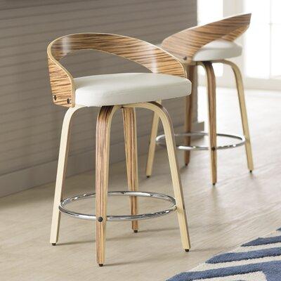 Bridgett 24.25 Swivel Bar Stool Upholstery: White
