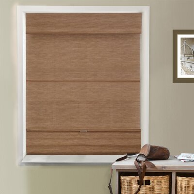 Natural Room Darkening Roman Shade Color: Jamaican Truffle, Size: 32.5 W x 64 L