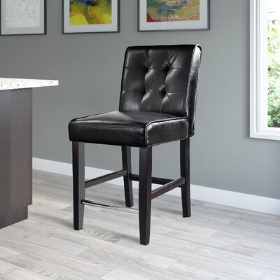 Celia  25? Bar Stool Upholstery: Black Bonded Leather