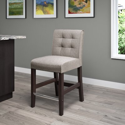 Celia  25? Bar Stool Upholstery: Grey Tweed Fabric
