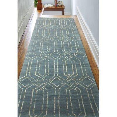 Bryden Hand-Tufted Azure Area Rug Rug Size: Runner 26 x 8