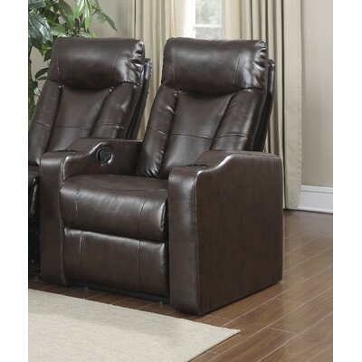 Eugenia Home Theater Left Facing Recliner Upholstery: Brown