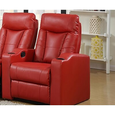 Eugenia Home Theater Left Facing Recliner Upholstery: Red