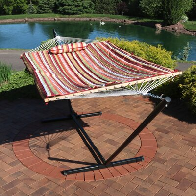 Carrollton Rope Polyester Hammock with Stand Color: Tropical Orange