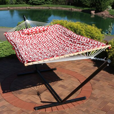 Carrollton Rope Polyester Hammock with Stand Color: Royal Red