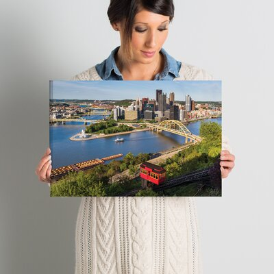 'Pittsburgh Skyline with Duquensne Incline' Photographic Print on Wrapped Canvas Size: 12