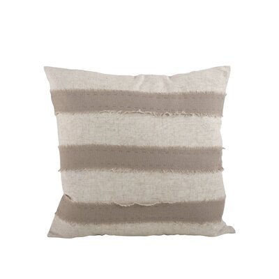 Kimpel Banded 100% Cotton Throw Pillow Color: Taupe