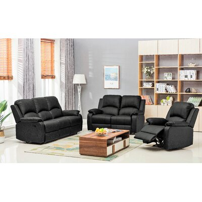 Willian 3-piece Bonded Leather Recliner Set Upholstery: Black