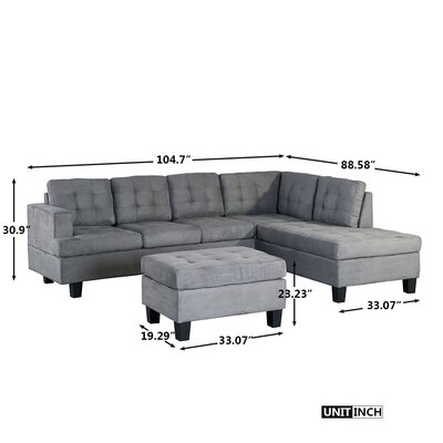 Sanon Leather  Stationary Sectional with Ottoman
