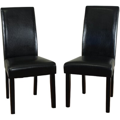Aubrey Parsons Chair Upholstery: Black, Finish: Espresso