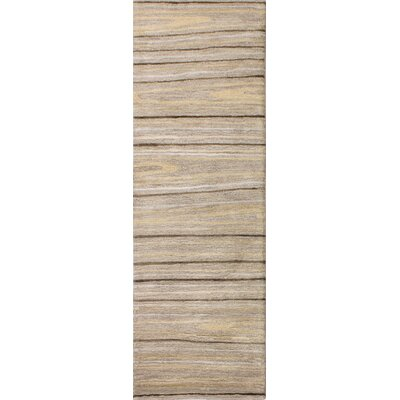 Kelson Hand Tufted Wool Taupe Area Rug Rug Size: Runner 26 x 8