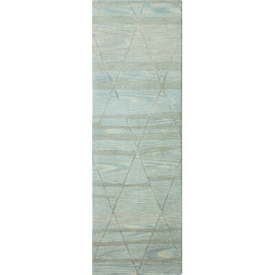 Kelson Hand Tufted Wool Light Blue Area Rug Rug Size: Runner 26 x 8