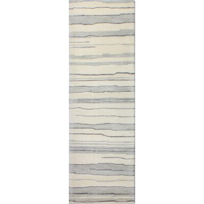 Kelson Hand-Tufted Ivory/Silver Area Rug Rug Size: Runner 26 x 8