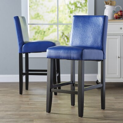 Swarthout 26 Bar Stool Upholstery: Blue With Black Legs