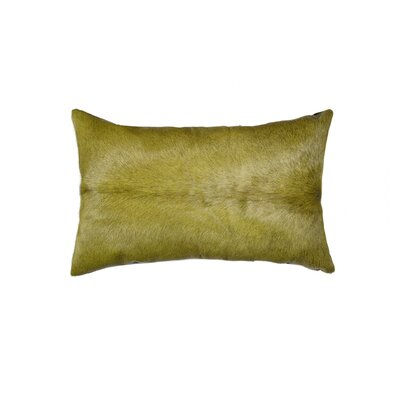 Plumsted Leather Cowhide Lumbar Pillow Color: Verde