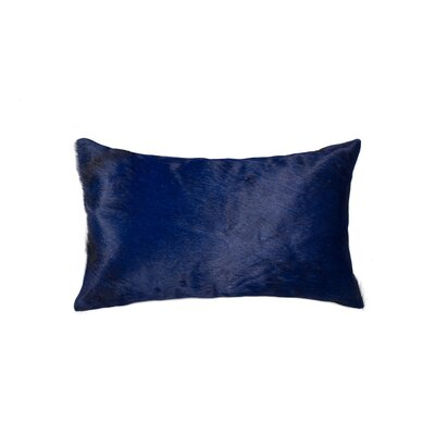 Plumsted Leather Cowhide Lumbar Pillow Color: Navy