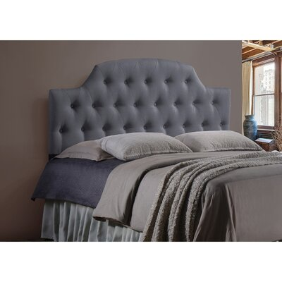 Calla Scalloped Upholstered Panel Headboard Upholstery: Grey, Size: Queen