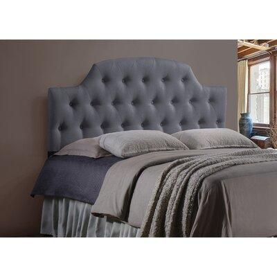 Calla Scalloped Upholstered Panel Headboard Size: Full, Upholstery: Grey