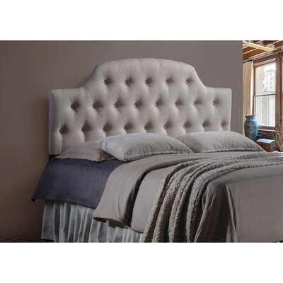 Calla Scalloped Upholstered Panel Headboard Size: Full, Upholstery: Light Beige