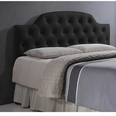 Calla Scalloped Upholstered Panel Headboard Size: Full, Upholstery: Black