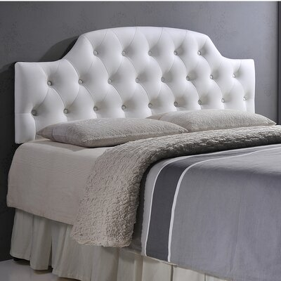 Calla Scalloped Upholstered Panel Headboard Size: Full, Upholstery: White