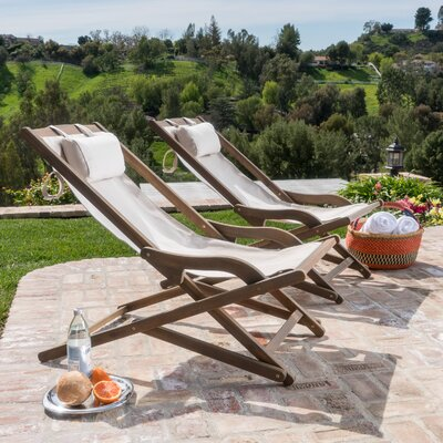 Knowland Outdoor Wood and Canvas Sling Arm Chair Fabric: Beige