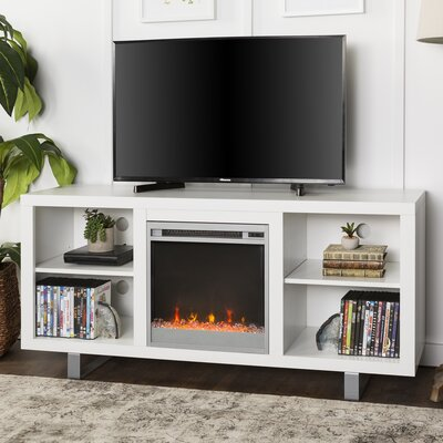 Depasquale 58 TV Stand with Fireplace Color: White