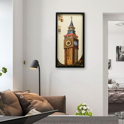 "Big Ben"" Dimensional Collage Framed Graphic Art Under Glass LRUN3209 39231685"