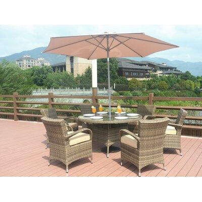 Anntonette 7 Piece Dining Set with Umbrella Color: Natural