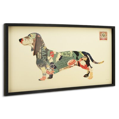 "Dachshund"" Dimensional Collage Framed Graphic Art Under Glass LRUN3201 39231677"