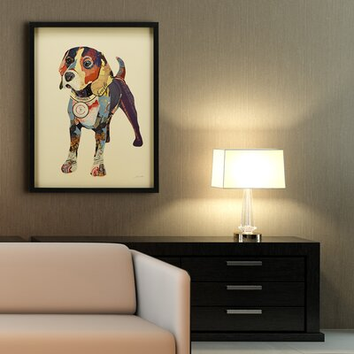"Beagle"" Dimensional Collage Framed Graphic Art Under Glass LRUN3168 39231644"