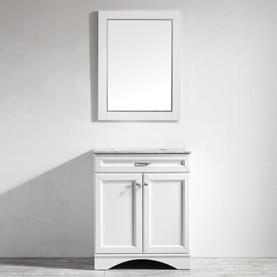 Madi 30 Single Vanity Set with Mirror Base Finish: White