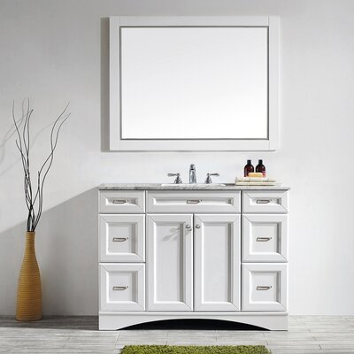 Madi 48 Single Vanity Set with Mirror Base Finish: White