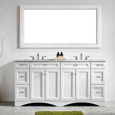 Madi 72 Double Bathroom Vanity Set with Mirror Base Finish: White