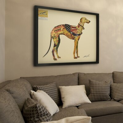 "Greyhound"" Dimensional Collage Framed Graphic Art Under Glass LRUN3151 39231627"