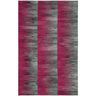 Amerina Hand-Woven Fuchsia/Charcoal Area Rug Rug Size: Rectangle 4 x 6