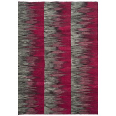 Amerina Hand-Woven Fuchsia/Charcoal Area Rug Rug Size: Rectangle 5 x 8