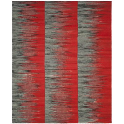 Amerina Hand-Woven Red/Charcoal Area Rug Rug Size: Rectangle 8 x 10