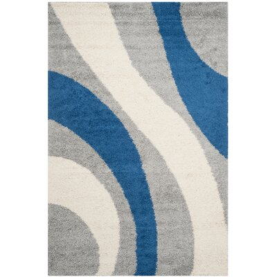 Swanson Machine Woven Grey/Blue Area Rug Rug Size: Rectangle 6 x 9