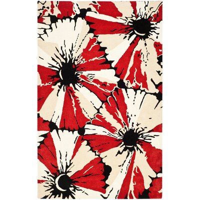 Woodburn Black/Red Area Rug Rug Size: Rectangle 5 x 8