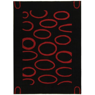 Woodburn Black/Red Area Rug Rug Size: Rectangle 76 x 96