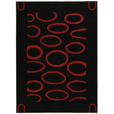 Woodburn Black/Red Area Rug Rug Size: Rectangle 5 x 8