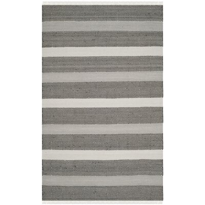 Amerina Hand-Woven Gray/Black Area Rug Rug Size: Rectangle 5 x 8