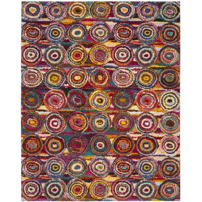 Gleno Red and Brown Area Rug Rug Size: Rectangle 8 x 10
