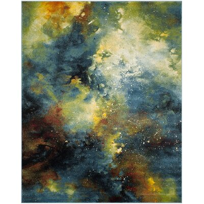 Blue/Yellow Area Rug Rug Size: Rectangle 35 x 5