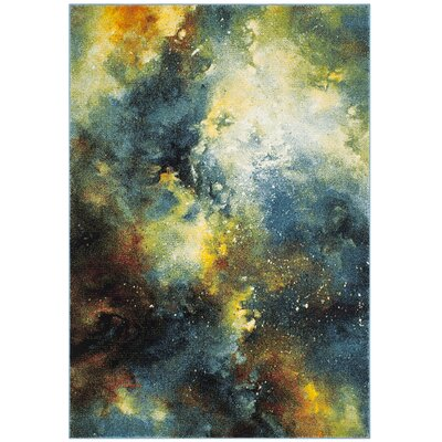 Blue/Yellow Area Rug Rug Size: Rectangle 53 x 76