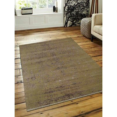 Ry Persian Hand Knotted Wool Cream Area Rug Rug Size: 6 x 9