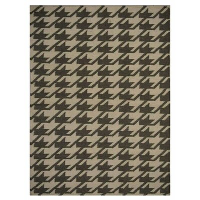 Ry Hand Knotted Wool Cream/Green Area Rug Rug Size: 64 x 8