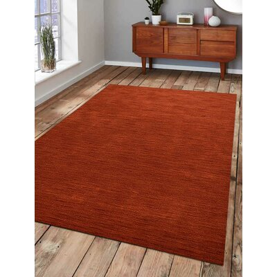 Ry Hand Knotted Wool Light Red Area Rug Rug Size: 9 x 12