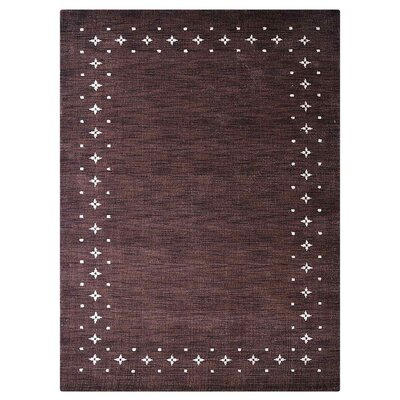 Ry Hand Knotted Wool Brown Area Rug Rug Size: 5 x 8
